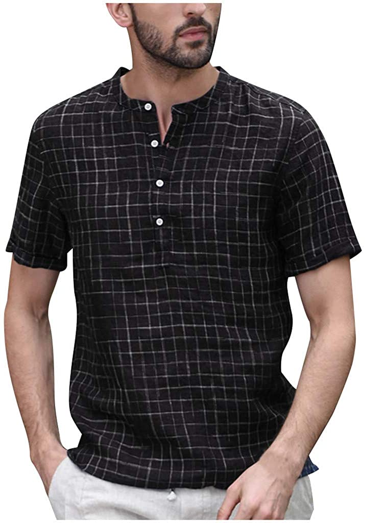 Ecurson Men's Spring Summer Shirt,Casual Linen Plaid O-Neck Button Short Sleeve Shirt Casual Daily Vintage Soft Blouse