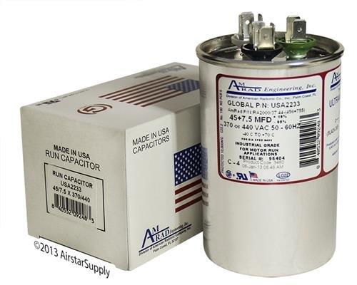 GE/Genteq Z97F9969 / 97F9969-45 + 7.5 uf MFD 370/440 Volt VAC AmRad Round Dual Run Capacitor, Made in The U.S.A.