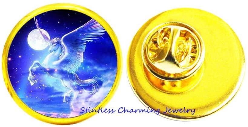 Unicorn Brooch,Unicorn Jewelry,Magical Unicorns,Fairy Tale,Unicorn Gift, Mythology Fantasy Art Pin-JV44