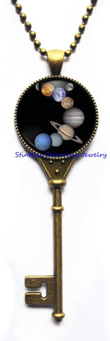 Planets Pendant Space Jewelry Astronomy Key Necklace,Planet Handmade Key Necklace,Art Glass Dome pendant-JV222