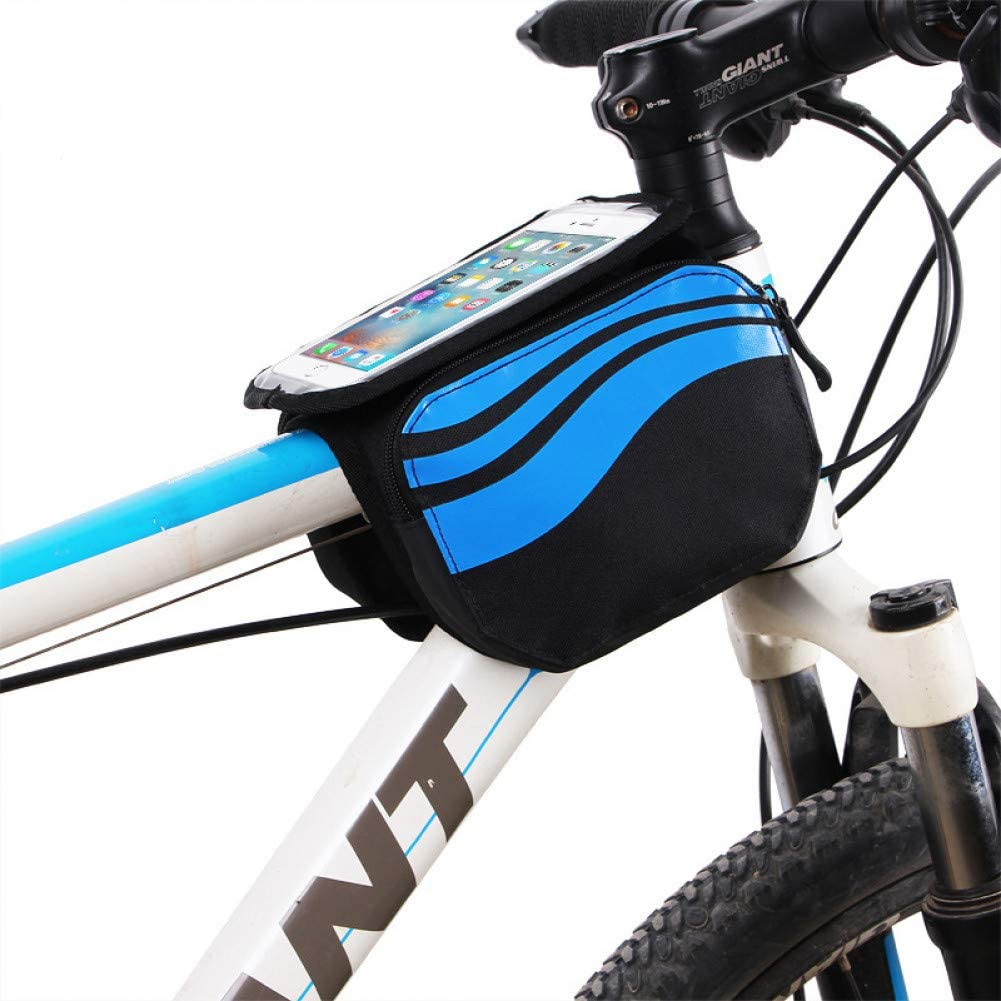 GSERA Bicycle Front Frame Bag,MTB Bike Touch Screen Case,Cycling Top Tube Bags for 5.7 Inch,Bicycle Riding Mobile Phonepouch
