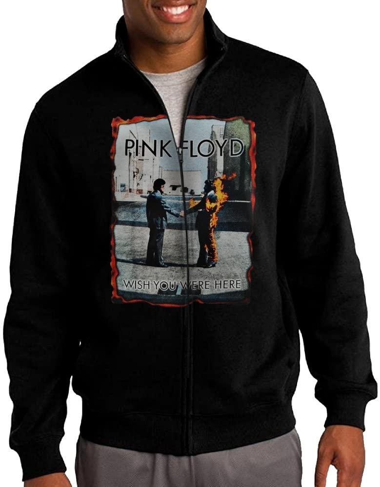 HEHE Men's Zip-up Jacket Hooded Sweatshirt Pink Floyd Wish You Were Here Cover Black