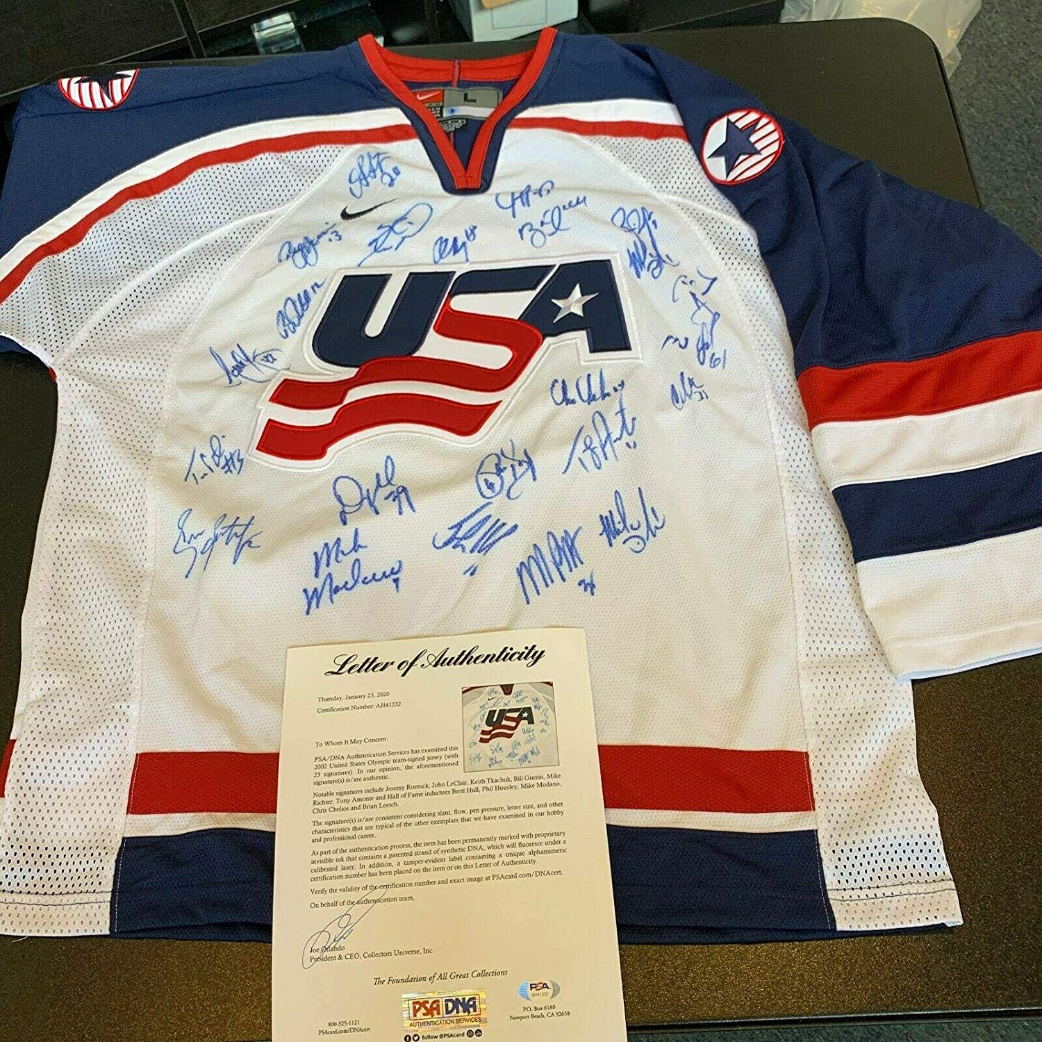 2002 Team USA Olympics Hockey Team Signed Authentic Nike Jersey COA - PSA/DNA Certified - Autographed NHL Jerseys