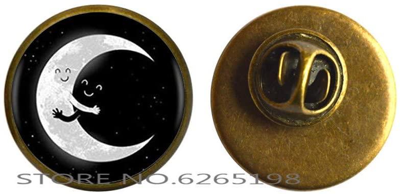Moon Brooch,Dainty Moon Brooch,Delicate Moon Brooch,Simple Moon Brooch,Moon Animal Brooch Glass Brooch,N144