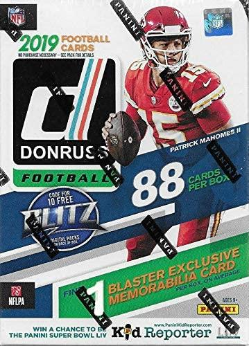 2019 Panini Donruss NFL Football BLASTER box (88 cards, ONE exclusive Memorabilia card per box)