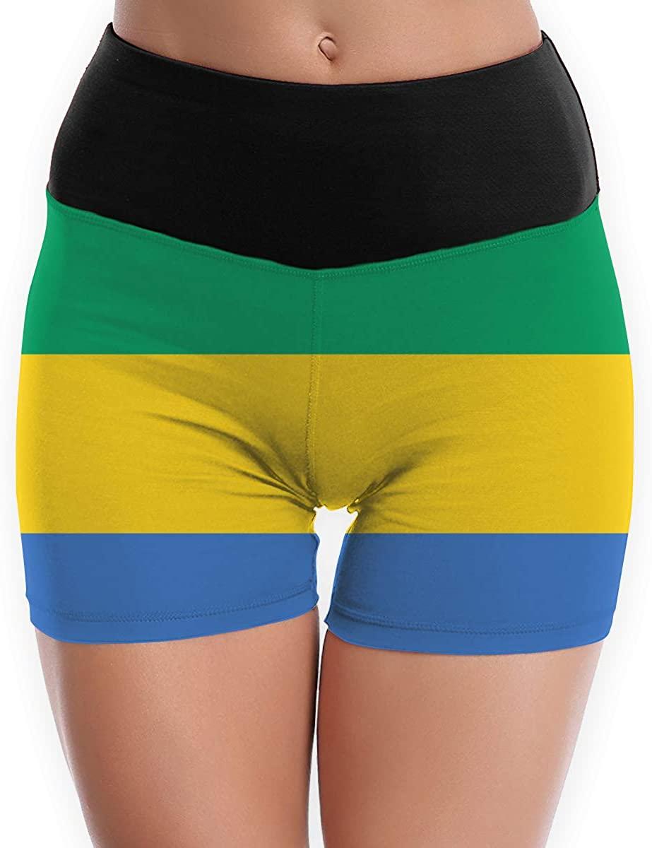 CHEERPEACETIME Womens Yoga Shorts Pants Gabon Flag High Waist Tummy Control Stretch Leggings