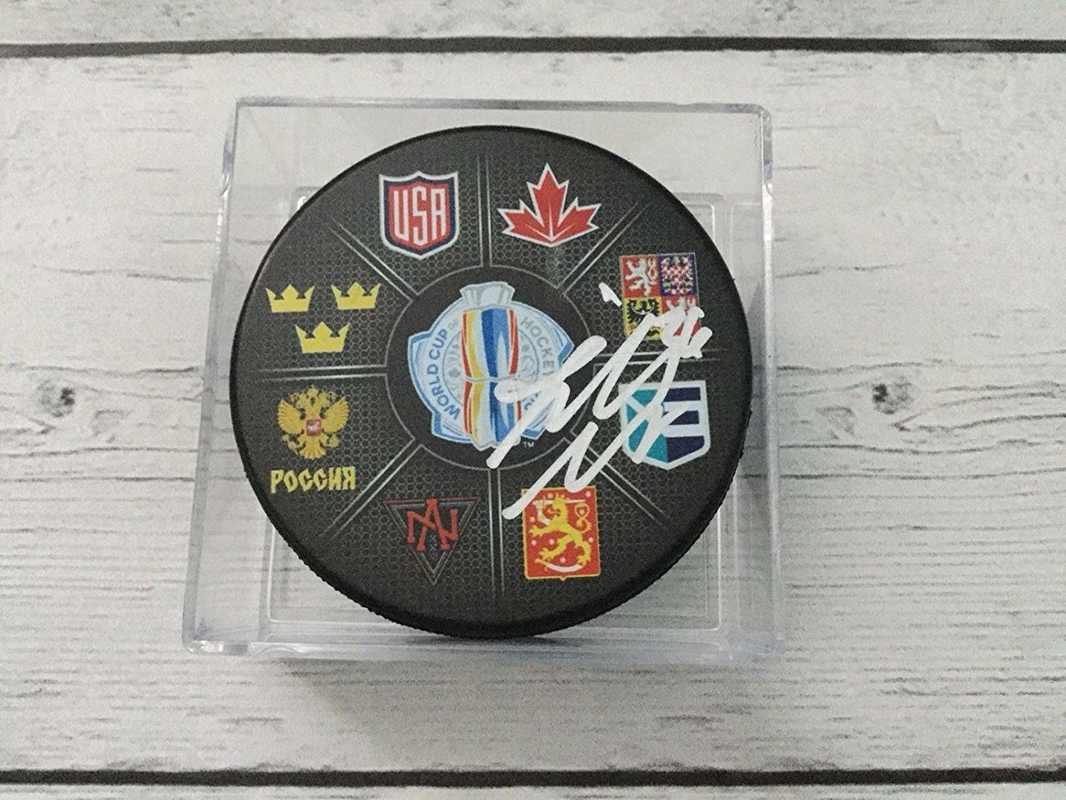 Jannik Hansen Signed Hockey Puck - 2016 World Cup of a - Autographed NHL Pucks