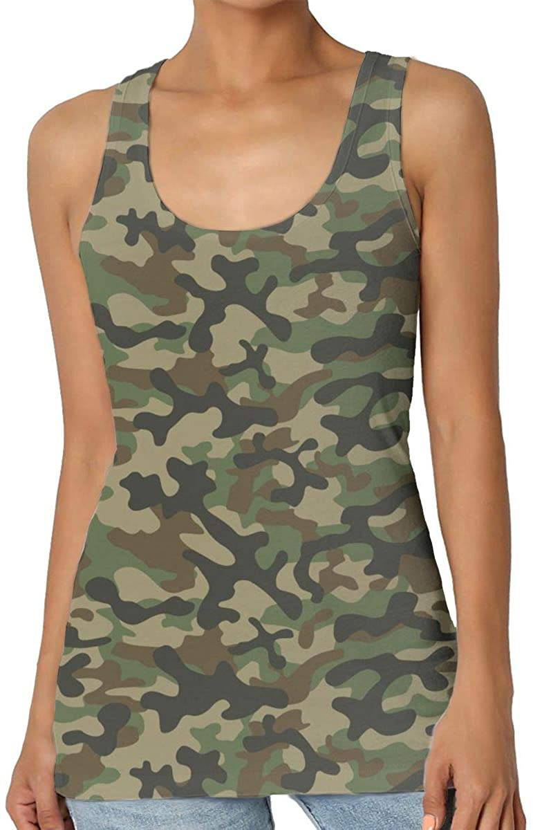 Womens Tank Top Texture Military Camouflage Army Green 3D Printed Sleeveless Racerback Vest Shirts