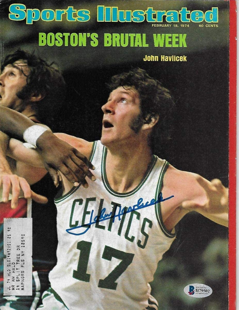 John Havlicek Autographed Boston Celtics Sports Illustrated 2/18/74 Beckett Authenticated - Autographed NBA Magazines