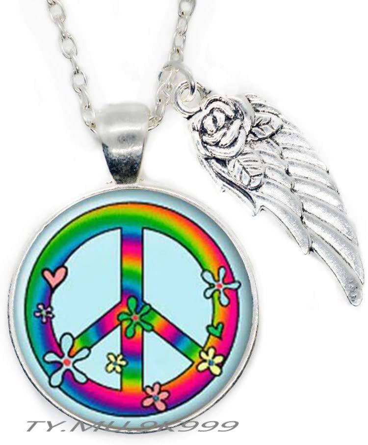 Yao0dianxku Hippie Necklace Pendant Hippie Jewelry Peace Necklace Peace Jewelry Peace Pendant Gift Glass Cabochon Necklace.Y051