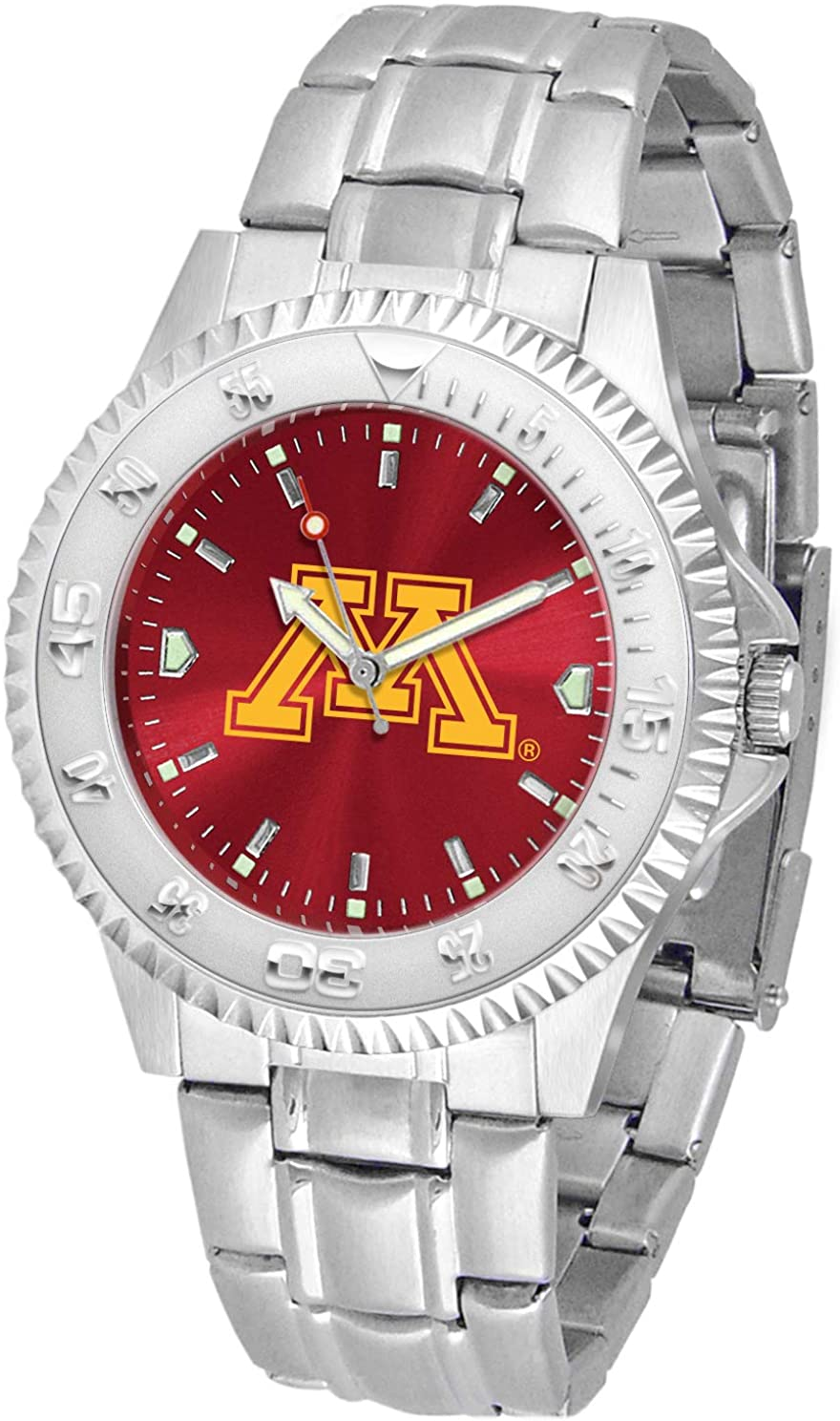 SunTime Minnesota Golden Gophers Competitor AnoChrome Men's Watch with Steel Band