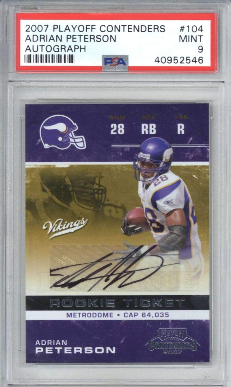 Adrian Peterson Signed Auto 2007 Playoff Contenders Rookie #104 PSA 9