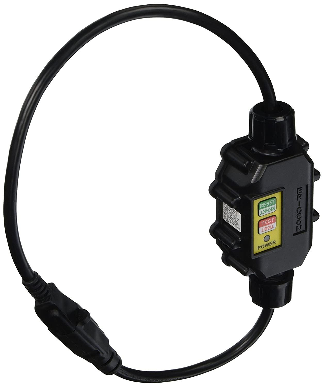 Ericson XG2-14-2S Heavy Duty in-Line GFCI Cord Set, Auto Power Up, Molded NEMA 5-15 Plug/Connector, 14/3 SJTW, 120V/15 Amp, 2' Long