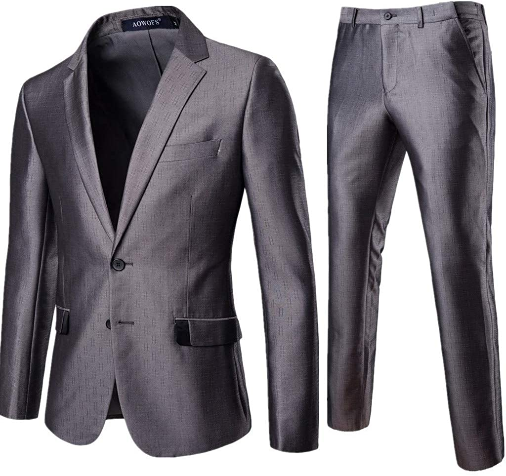 Centory Men's Slim Fit Performance Suit with Stretch 2 Piece Wedding Tuxedo Prom Dress Party Suit