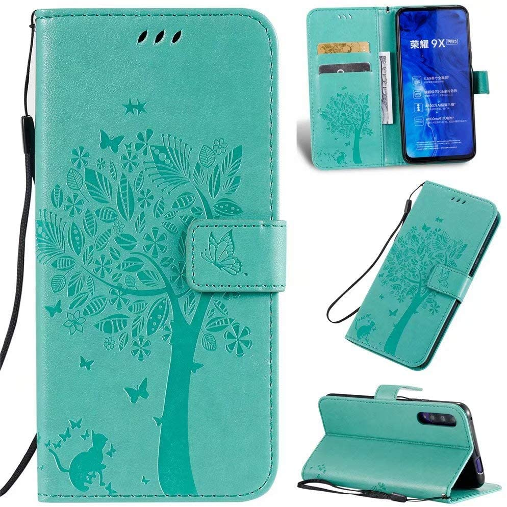 Luckyandery Honor 9X Leather case,Honor 9X Leather Flip, Leather Wallet Case,Flip Case Cover with Stand Function & Credit Card Slots for Huawei Honor 9X