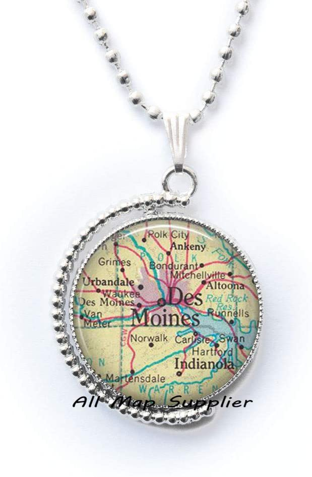 AllMapsupplier Fashion Necklace Des Moines,Iowa map Pendant,Des Moines map Necklace,Des Moines Pendant,map Jewelry,A0069