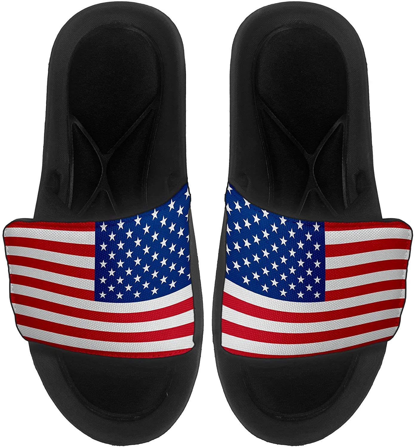 ExpressItBest Cushioned Slide-On Sandals/Slides for Men, Women and Youth - Flag of United States American USA - United States Flag