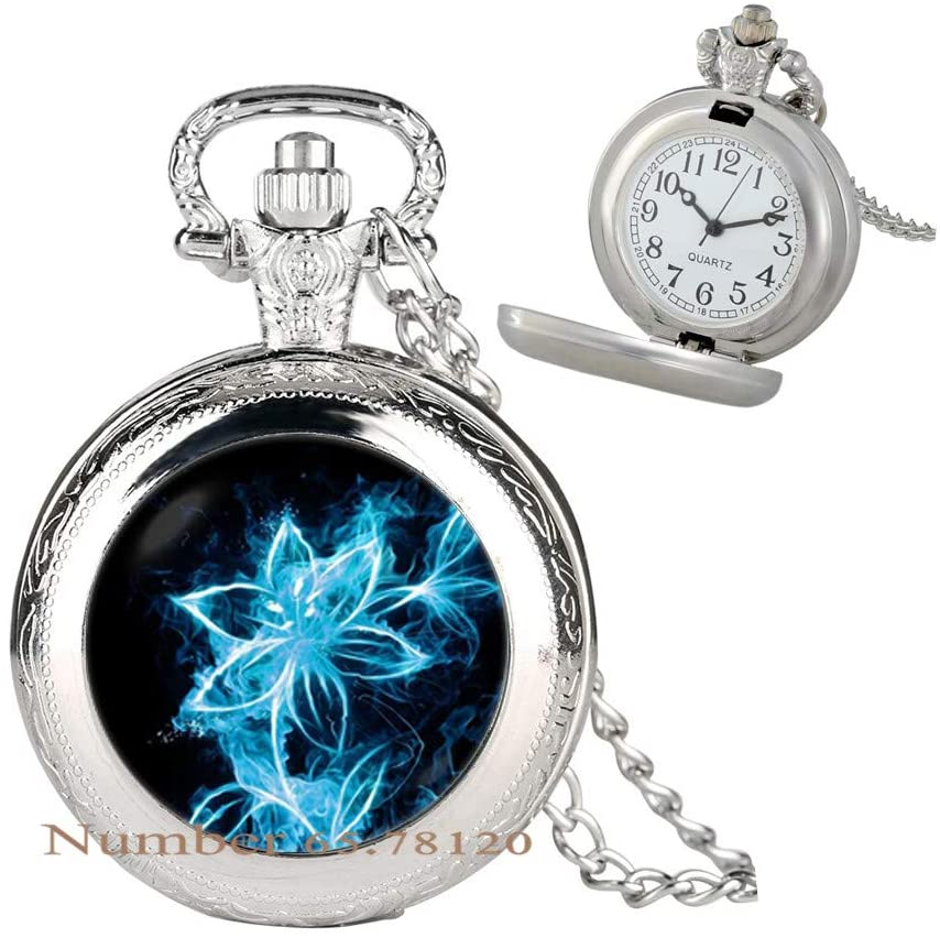 Pocket Watch Necklace flower Floral jewelry Flower Pendant Icy flower Floral Pocket Watch Necklace Birthday gift Fiery flower Pocket Watch Necklace Floral Pendant Art Pocket Watch Necklace,BV163
