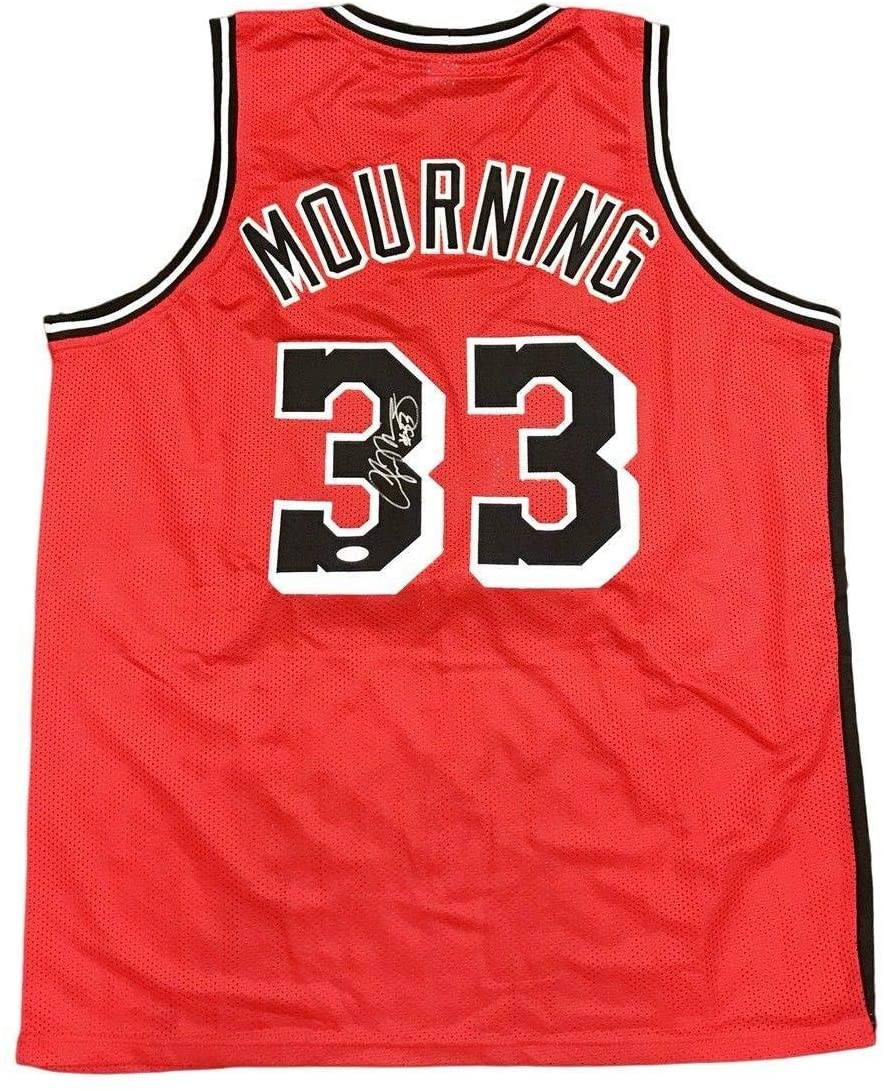 Signed Alonzo Mourning Jersey - Away Red - JSA Certified - Autographed NBA Jerseys