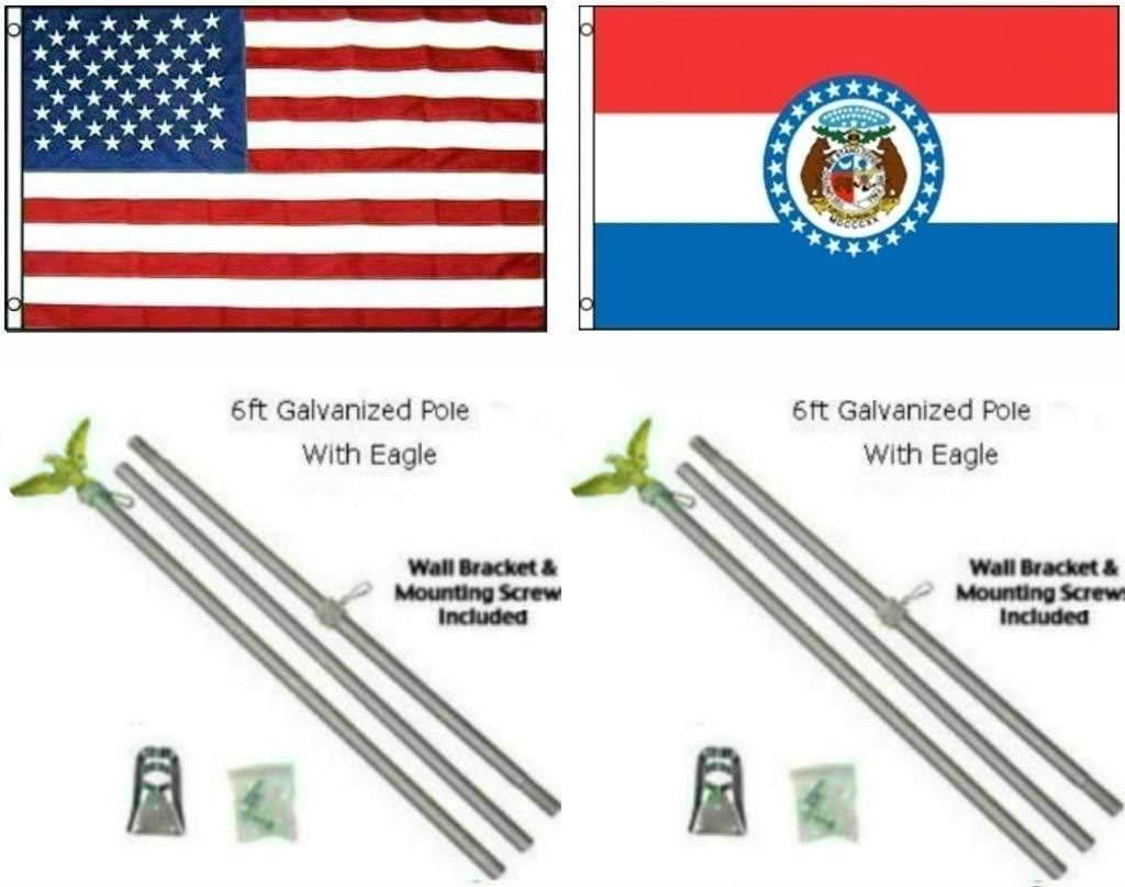 AES 3x5 3'x5' USA American w/State of Missouri Flag w/Two 6' Galvanized Flagpole Pole Kits Eagle Topper