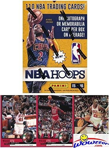 2015/2016 Panini Hoops NBA Basketball HUGE Factory Sealed Blaster Box with 110 Cards & AUTOGRAPH or MEMORABILIA Card! Plus Special BONUS of THREE(3) Vintage Michael Jordan Chicago Bulls Cards!