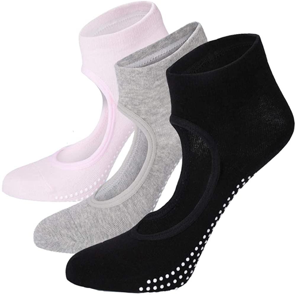 Grips Socks Anti-Skid Pilates Socks - 3-4 Pack Elutong Yoga Ballet Barre Combed Cotton Sticky Socks Non Slip For Women
