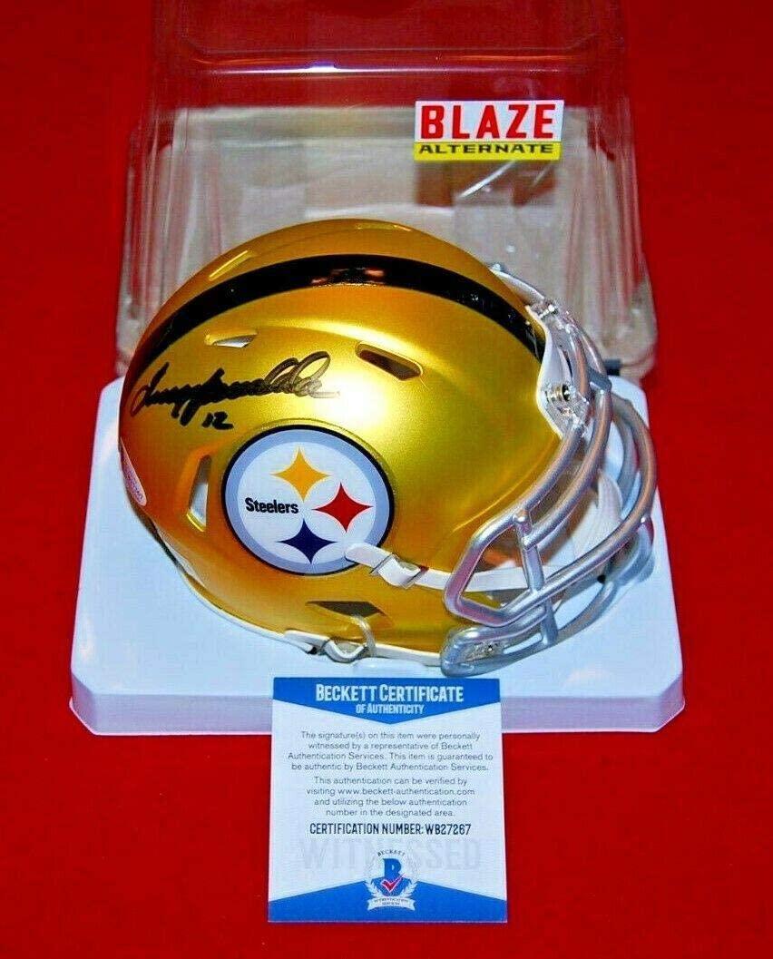 Terry Bradshaw Signed Mini Helmet - BLAZE Beckett GTSM COA - GTSM Certified - Autographed NFL Mini Helmets