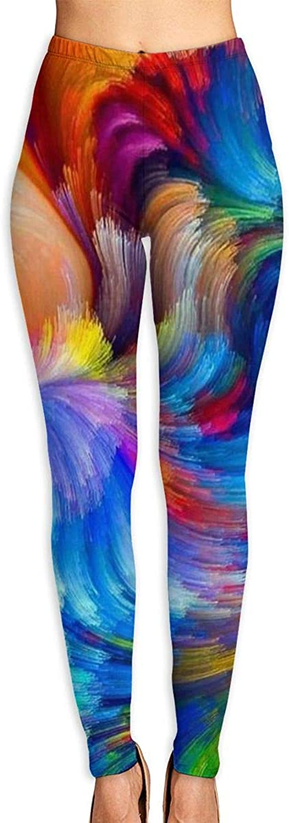 AUISS Girl Yoga Pants Leggings Colorful Powder Running Workout Over The Heel Long Trousers Shapewear Gym
