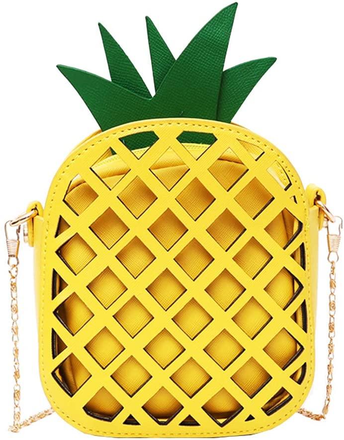 Maserfaliw Shoulder Bag, Shoulder Bag,Fashion Hollow Pineapple Women Faux Leather Zipper Small Crossbody Shoulder Bag - Yellow