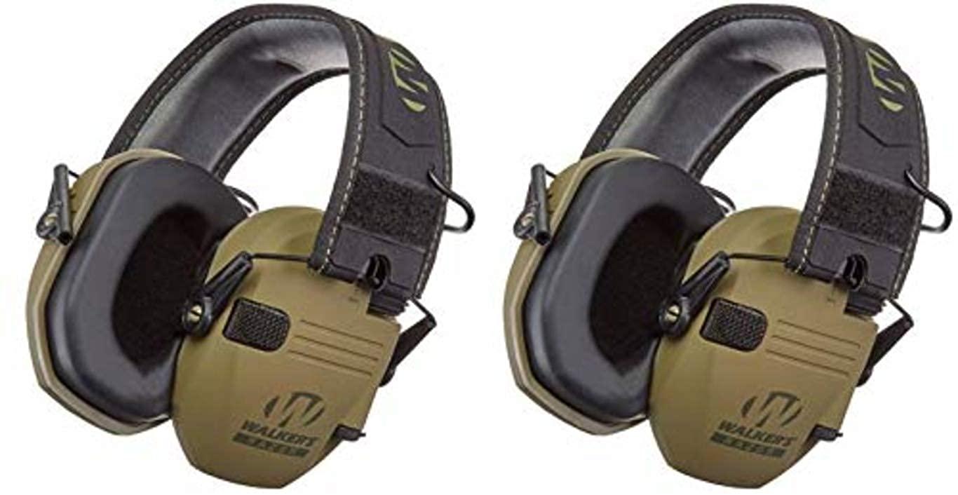 Walkers GWPRSEMPAT Razor Patriot Electronic Earmuff 23 dB OD Green/American Patch - 2 Pack