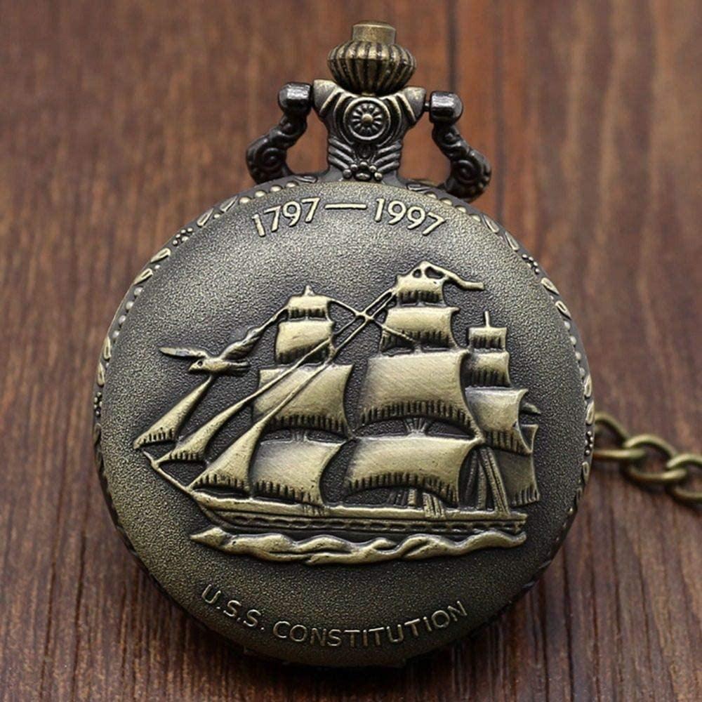 FANLLOOD Pocket Watch Antique Bronze Sailing Canvas Boat Ship Necklace Pocket Watch Chain Pendant Quartz Watches Men Women