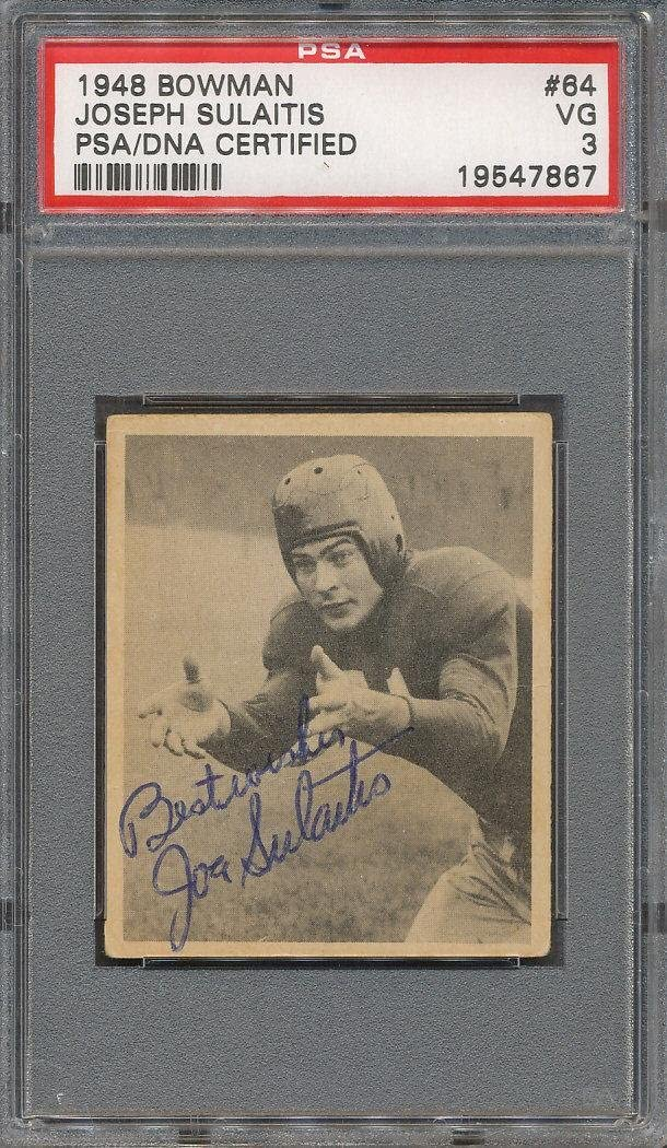 1948 Bowman #64 Joseph Sulaitis Certified Authentic Signed Auto *7867 - PSA/DNA Certified - Football Slabbed Vintage Cards