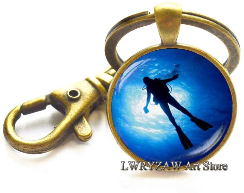 Diver Keychain, Diving Keychain, Glass Dome Key Ring, Gift for him, Sea Keychain,Simple Keychain,Handmade Keychain,M205