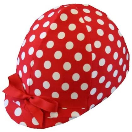 Equestrian Riding Helmet Cover - Red & White Polka