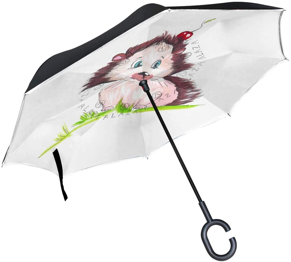 Reverse Umbrella Layer Inverted Reverse Folding Umbrella with C-Shaped Handle Windproof Protection Umbrella,for Car Rain Outdoor Use