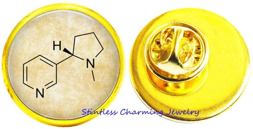 Chemistry Jewelry,Nicotine Molecule,Glass Pin Brooch,Art Glass Dome Pin,Bridesmaid Gift Birthday gift-JV299