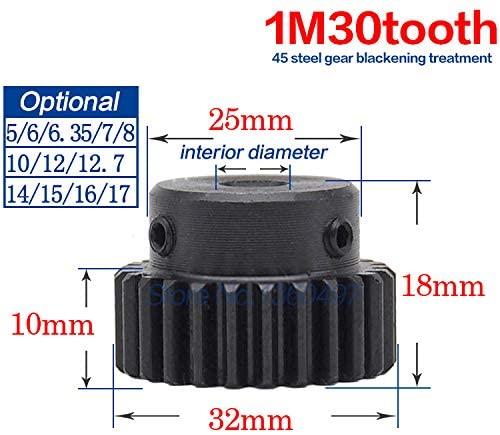 Ochoos 1 M Spur Gear Pinion 30T 30Teeth(Inner Hole 5mm/6/6.35/7/8/10/12/12.7/14/15/16/17mm) Right Teeth Positive Gear 45 Steel Gear - (Bore Diameter: 5mm)