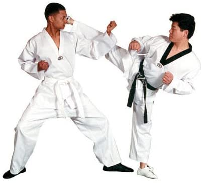 Tiger Claw Lightweight Poly/Cotton Taekwondo V-Neck Uniform - White with Black Trim - Size 1