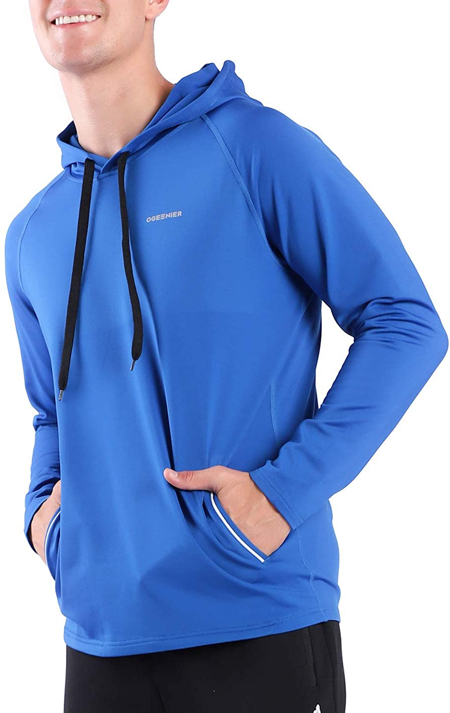 Ogeenier Men's Fashion Athletic Long Sleeve Hoodies Workout Training Pullover Casual Hooded Sweatshirt with Pocket