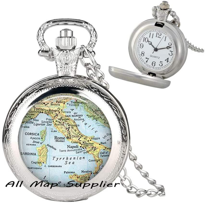 AllMapsupplier Fashion Pocket Watch Necklace,Italy Fashion map Pendant,Italy Pendant,Italy Pocket Watch Necklace,Italy map Pendant,Corsica map,A0240