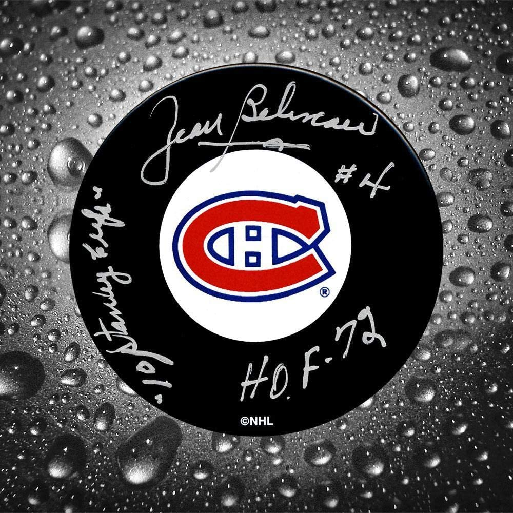 Signed Jean Beliveau Puck - 10 Staney Cups HOF - Autographed NHL Pucks