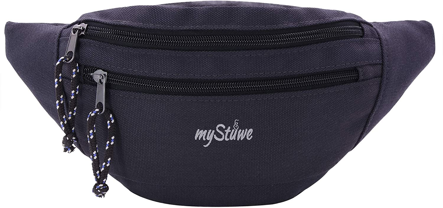 JUNSTAR Large Fanny Pack with 3-Zipper Pockets Adjustable Waist Bag for Women Men Sports Workout Traveling Running Casual Carrying of Phones, Black Color
