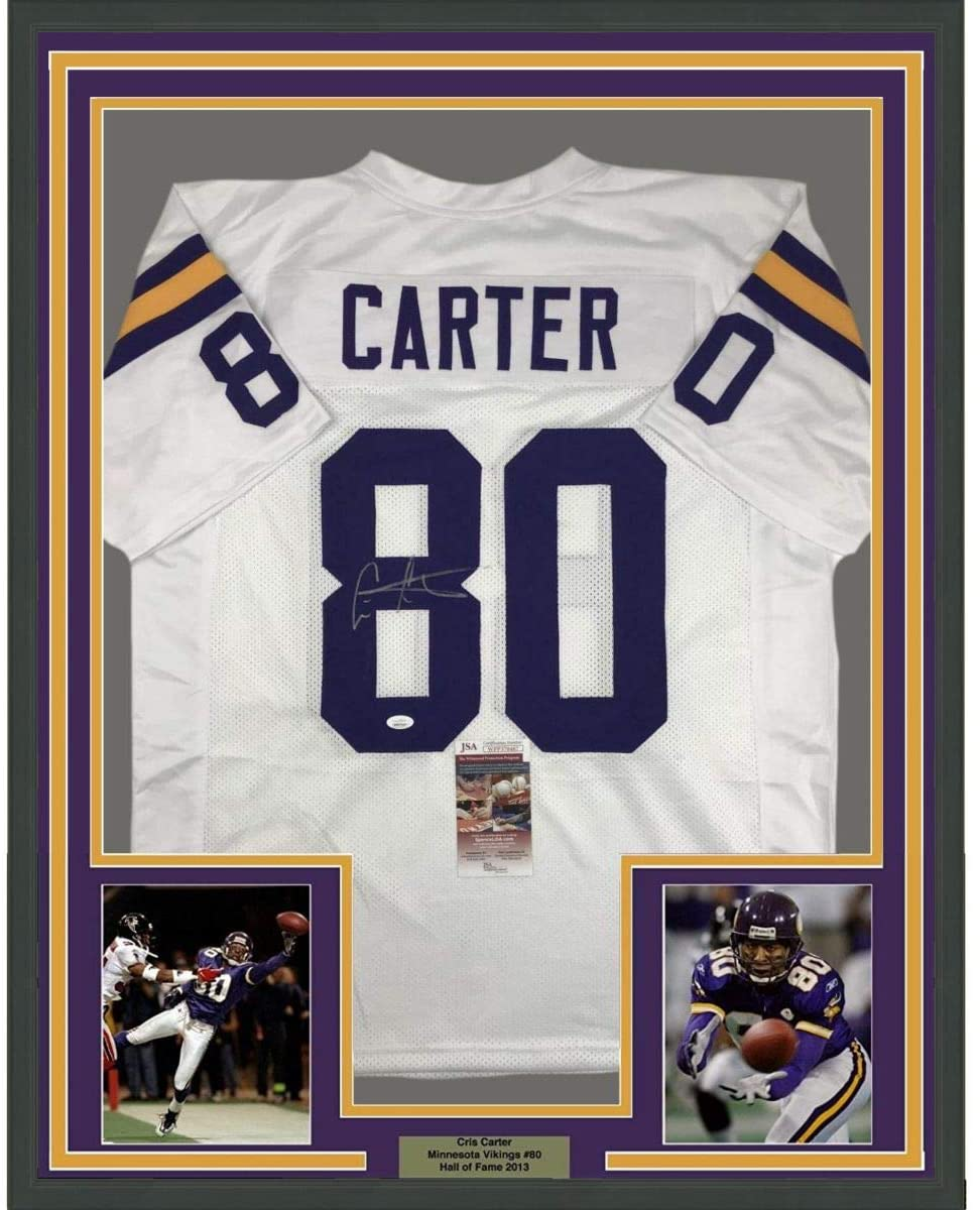 Framed Autographed/Signed Cris Carter 33x42 Minnesota White Football Jersey JSA COA