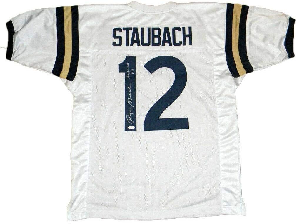 Roger Staubach Signed Jersey - #12 White W Heisman 63 - JSA Certified - Autographed College Jerseys