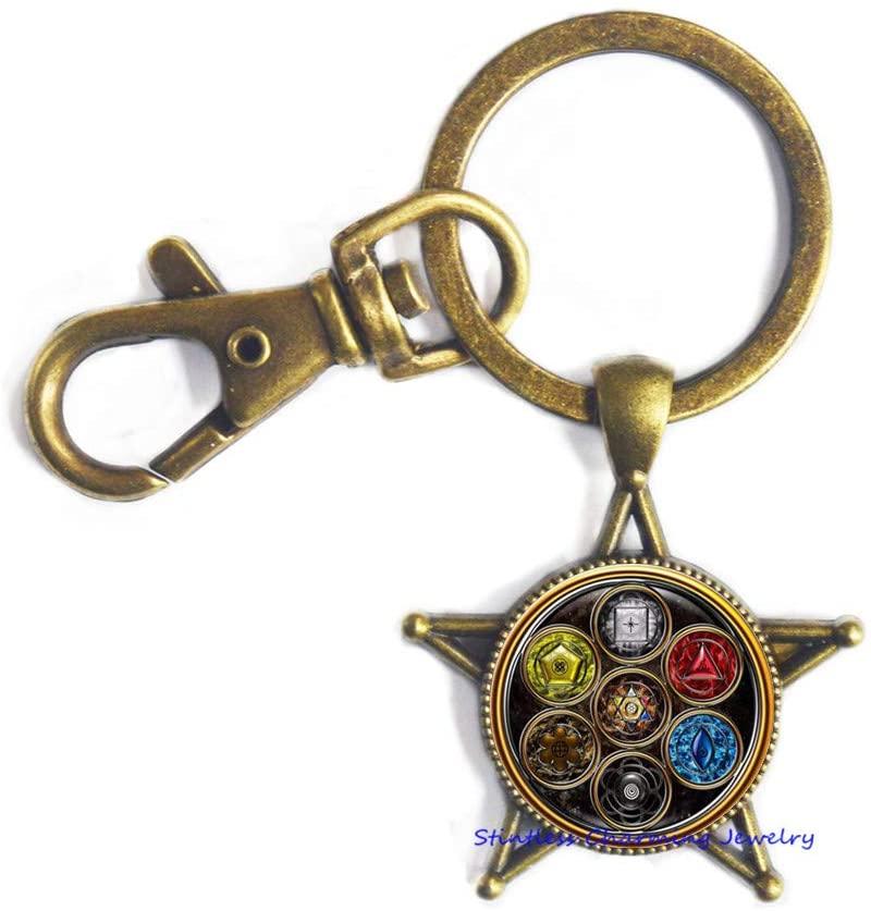 OM Keychain,Ohm Keychain,Yoga Keychain,Chakra Keychain Fashion Glass Dome Key Ring Keychain for Men Women Jewelry-JV116