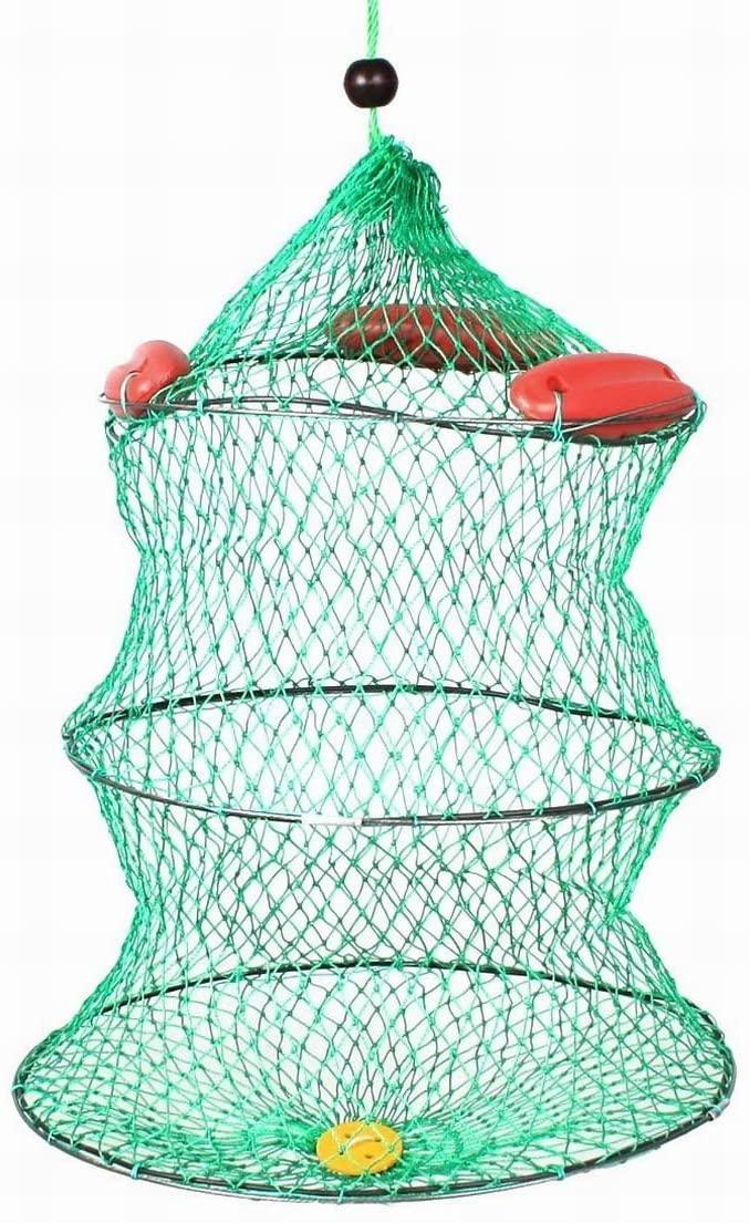 Uptell 20 High Foldup 2 Tier Knot Mesh Boat Fishing Live Bait Keep Net Green