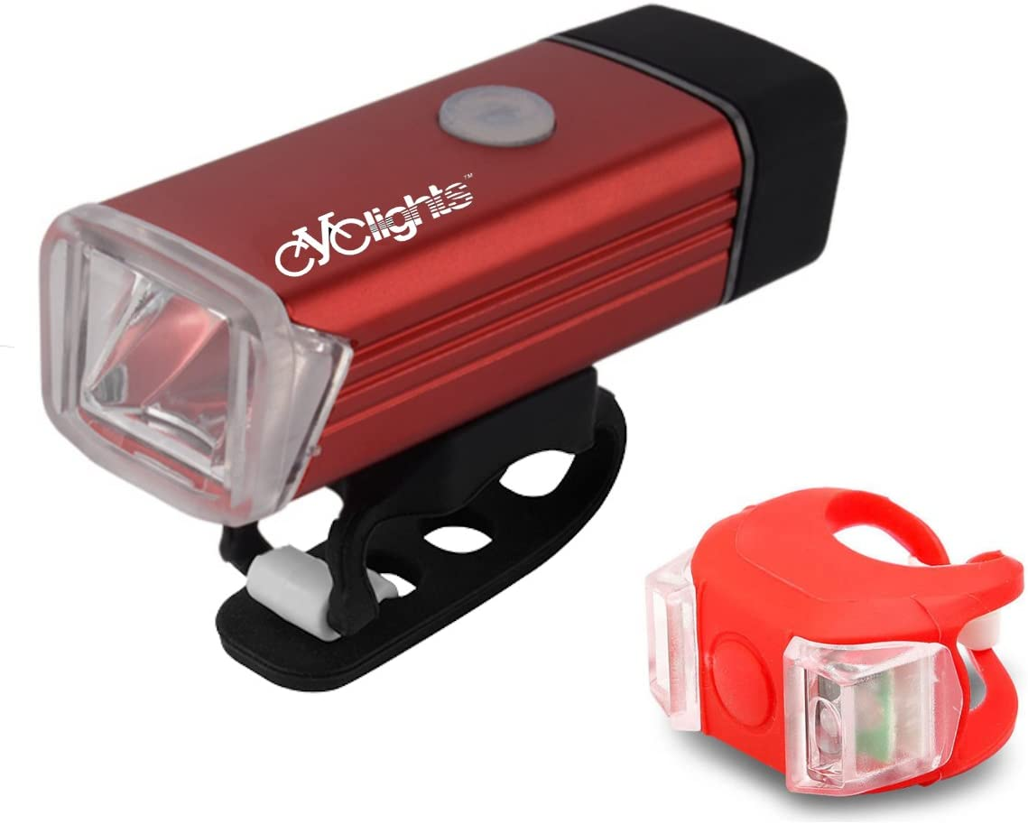 Cyclights Torch 200 Lumens USB Rechargeable Bicycle Light Set, Super Bright Bike Front Light and LED Tail Light, Easy to remove & install for Safe Cycling