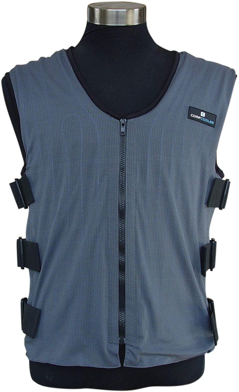 Compcooler Liquid Cooling Vest, Blue Mesh Fabric, Black Mesh Liner, Water Circulation Cooling Vest, Reversible Application