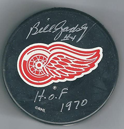 Bill Gadsby Signed Hockey Puck - Autographed NHL Pucks