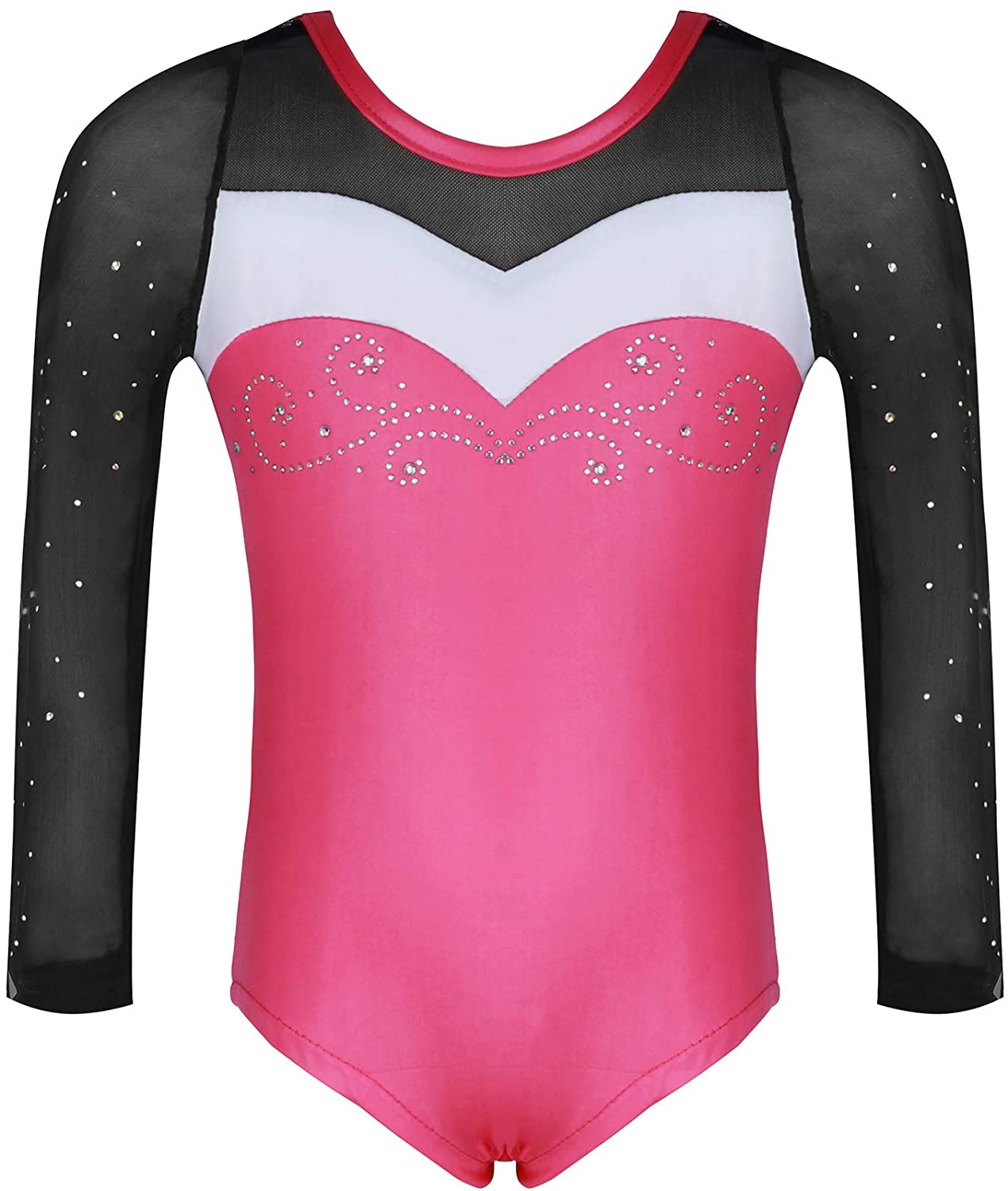 Molliya Girls Gymnastics Leotard Long Sleeve One-Piece Sparkly Colorful Ballet Dance Leotards Practice Outfit 4-10 Years